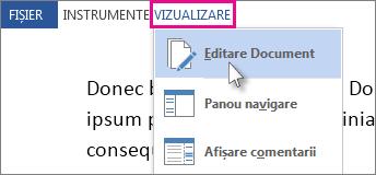 Imagine a unei porțiuni din meniul Vizualizare din Modul Citire, având selectată opțiunea Editare document.