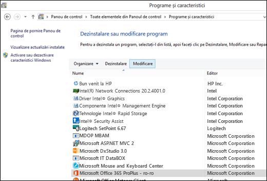 Faceți clic pe Modificare în appletul Dezinstalați programele pentru a iniția o reparare Microsoft Office