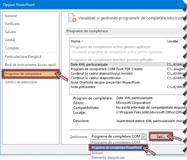 Deschideți lista de programe de completare PowerPoint, apoi faceți clic pe Salt
