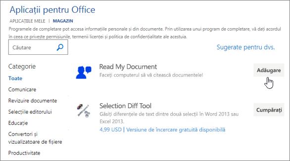 Captură de ecran a pagina aplicații pentru Office în depozit în cazul în care puteți să selectați sau căutare pentru o aplicație pentru Word.