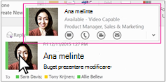 Outlook Skype for Business meniu rapid