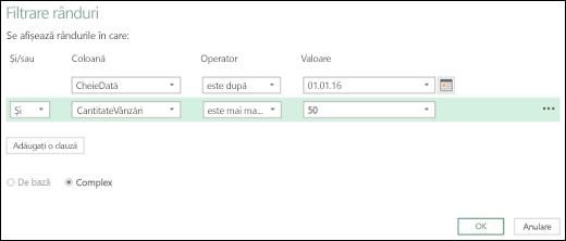 Caseta de dialog Filtrare rânduri complexă din Excel Power BI din Editorul de interogare