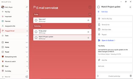 Listă de e-mail semnalizată cu opțiunea Update Project Mark 8 selectată și vizualizarea detalii deschisă, cu o previzualizare a e-mailului.