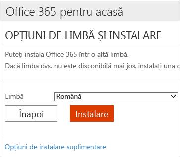 Pe pagina Opțiuni de limbă și instalare, selectați linkul Opțiuni de instalare suplimentare