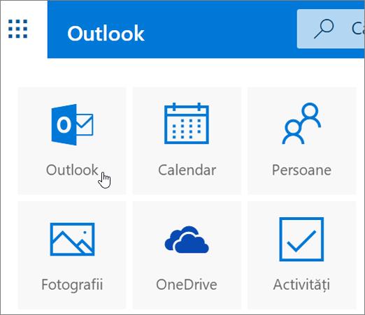 O captură de ecran ce afișează dala Outlook selectată.