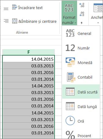 modificarea datelor la formatul de dată scurtă din panglică