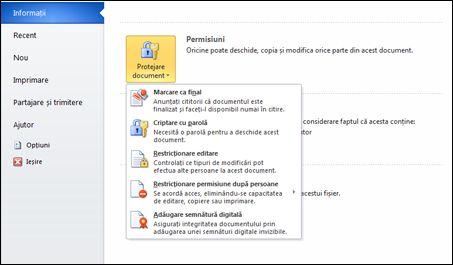 Butonul Protejare document cu opțiuni