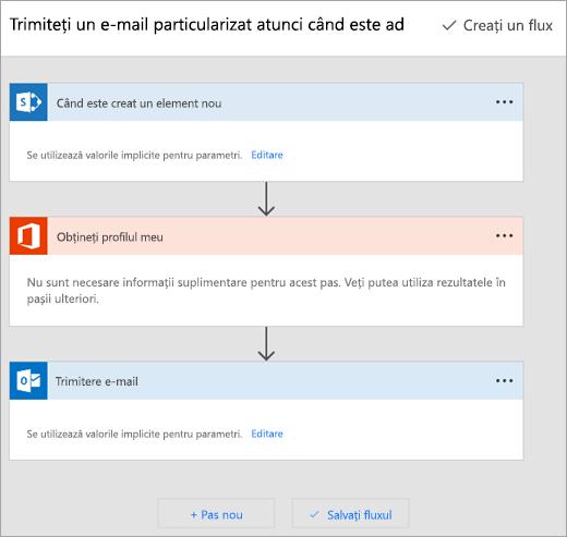 Urmați instrucțiunile de pe site-ul Microsoft Flow pentru a vă conecta fluxul
