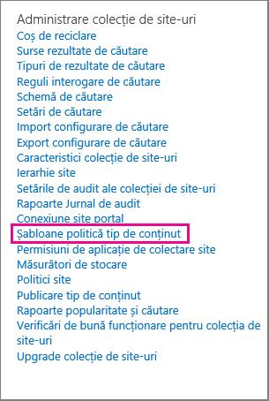 Link Șablon politică tip de conținut din pagina Setări site