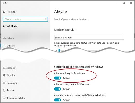 Meniul de afișare accesibilitate, cu opțiunea Afișare animații în Windows evidențiată.