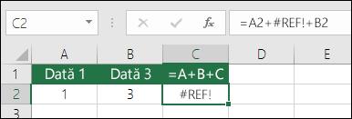 #REF! cauzată de ștergerea unei coloane  Formula s-a modificat la = a2 + #REF! + B2