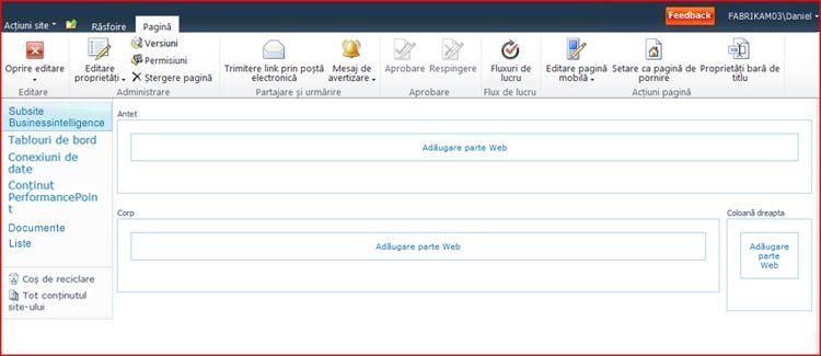 O pagină cu părți web conține zone pentru adăugarea de părți web