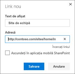 Adăugarea unui link recomandate