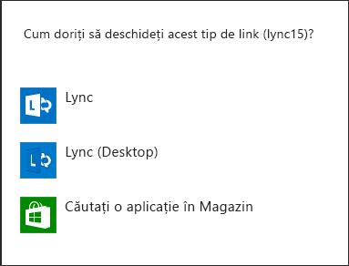 Captură de ecran a notificării Lync pentru selectarea unui program