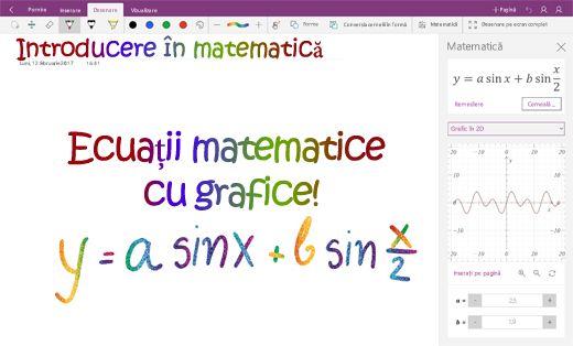 Reprezentare grafică a ecuațiilor matematice în OneNote pentru Windows 10