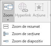 Afișează tipuri diferite de zoom-uri care pot fi selectate atunci când accesați Inserare > Zoom: Rezumat Zoom, glisați Zoom și secțiunea Zoom.
