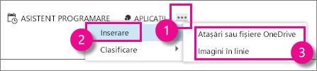 Butonul Mai multe acțiuni din Outlook Web App