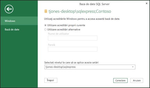 Power Query SQL Server conexiune acreditările de conectare