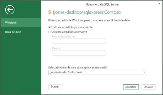 Acreditări de conectare la conectarea la Power Query SQL Server