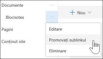 Promovarea unui link sub la un link principal
