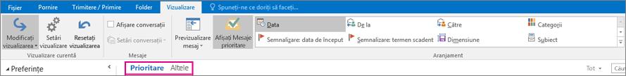 Filele Prioritare și Altele sunt în partea de sus a inboxului atunci când s-a selectat Afișați Mesaje prioritare