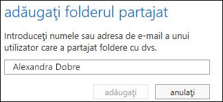 Caseta de dialog Adăugați folderul partajat în Outlook Web App