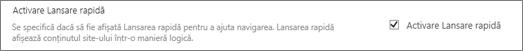 Imagine Activare vizualizare arborescentă secțiuni sub elemente de navigare