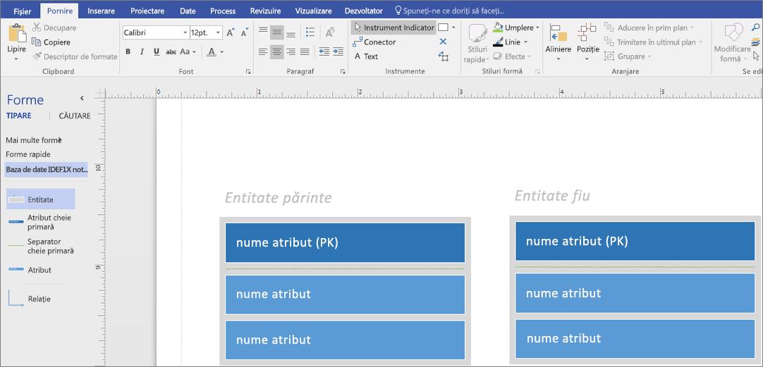 În entitatea părinte, tastați numele atributului din PK.