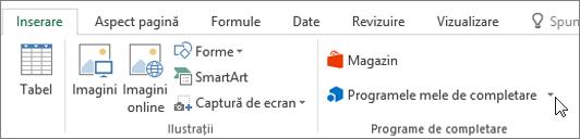 Captură de ecran a unei secțiuni din fila Inserare pe panglica Excel cu o cursorul indicând spre meu Adăugare-uri selectați meu de completare pentru a accesa completare pentru Excel.
