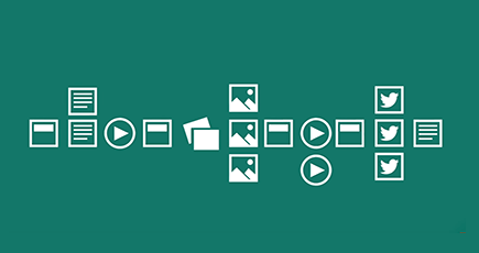 Diverse pictograme pentru a reprezenta imagini, videoclipuri și documente.