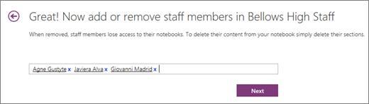 Tastați numele membrii personalului să le adăugați la blocnotes pentru cadre didactice.