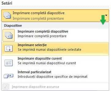 Opțiuni pentru selectarea diapozitivelor de imprimat