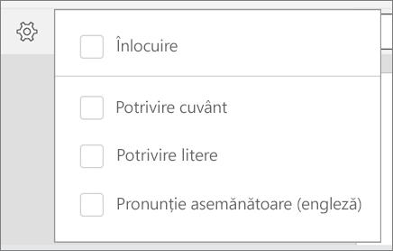 Afișează opțiunile de înlocuire, Match Word, potrivire litere și sunete cum ar fi pentru găsirea în Word pentru Android.