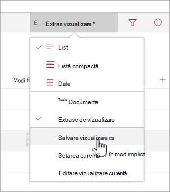 Faceți clic pe Salvare ca pentru a salva vizualizarea actualizat sau nou