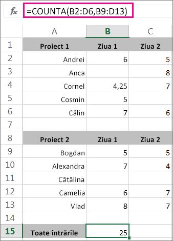 Funcția COUNTA cu 2 zone selectate