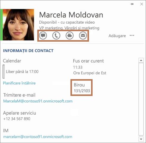 Cartea de vizită din Skype for Business
