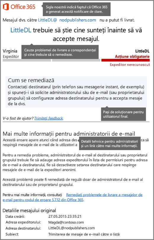 Cel mai nou format pentru notificările privind starea livrării (DSN) în Office 365