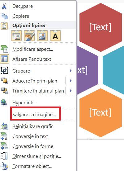 Faceți clic dreapta pe meniu când este selectată o ilustrație SmartArt