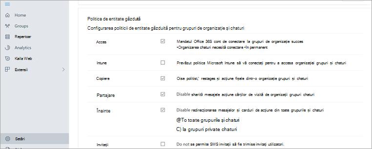 Secțiunea politica entității găzduite în portalul de gestionare Kaizala
