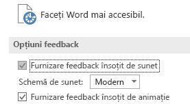 Vizualizare parțială a setărilor de accesibilitate din Word