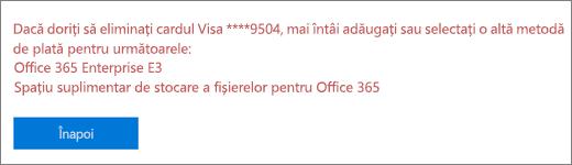 Mesajul de eroare apare dacă încercați să eliminați un card de credit sau de cont bancar care este utilizat în prezent pentru a plăti un abonament activ.