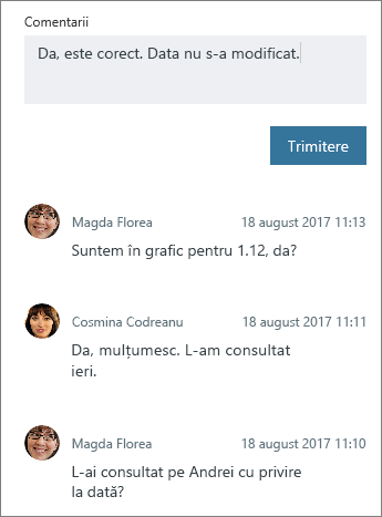 Adăugarea unui comentariu nou la o activitate
