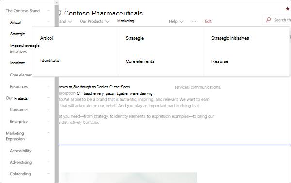 Exemplu de navigare MegaMenu pentru un site de marcă modern în SharePoint Online