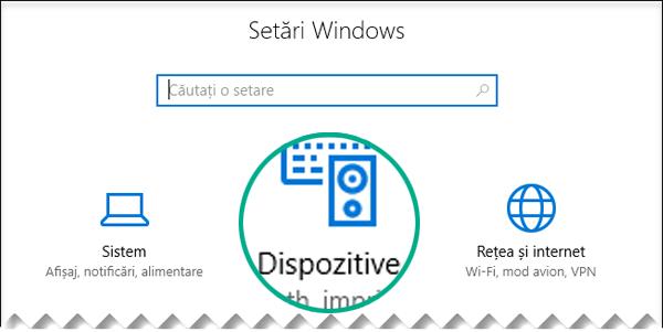 Selectați Dispozitive în caseta de dialog Setări Windows