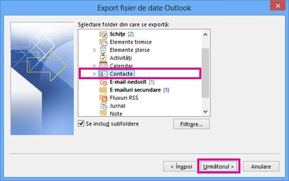 Expertul Export Outlook - alegeți persoane de contact