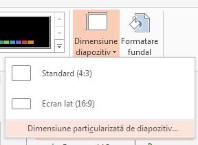 Din meniul Dimensiune diapozitiv, faceți clic pe Dimensiune particularizată de diapozitiv.