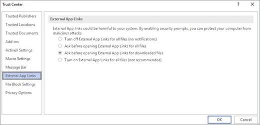 Alegeți opțiunea pe care doriți să o utilizați în Visio pentru linkuri de aplicații externe.