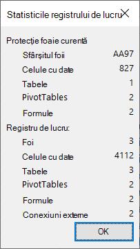 Caseta de dialog statistică registru de lucru.