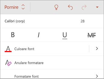 Fila Pornire, cu opțiuni de stil pentru font