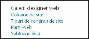 Opțiunile Galerii designer web din pagina Setări site din SharePoint Online